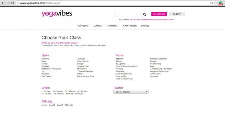 Yogavibes Search Screenshot