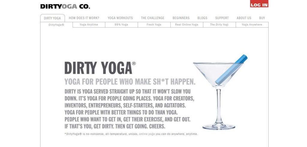 dirty yoga homepage screenshot